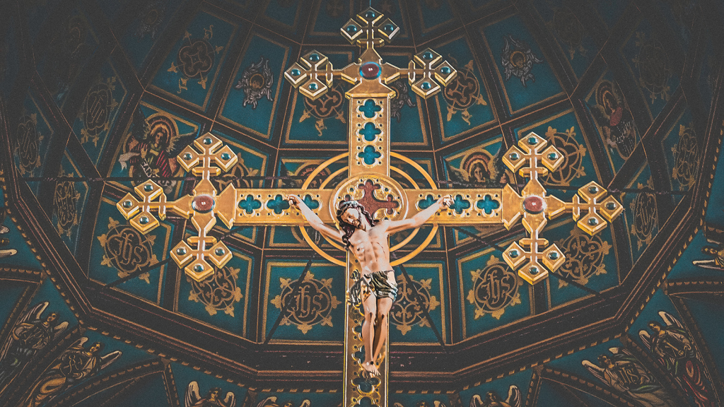 gold-coloured crucifix