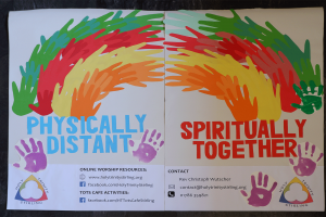 physically-distant yet spiritually-together poster at Holy Trinity, Stirling