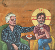 icon of Dorothy Day with Homeless Christ