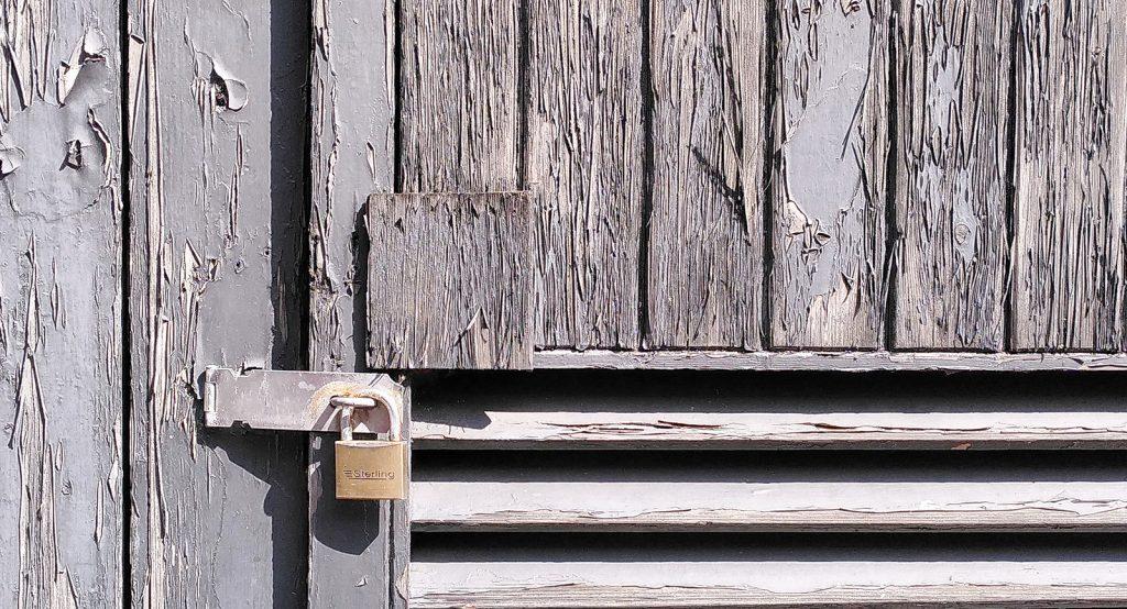 rustic door with padlock