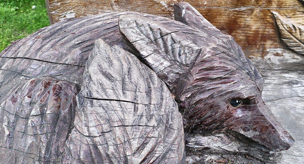 wooden sculpture of resting fox, Doune, Scotland